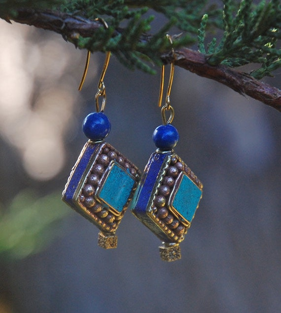 Faraway Land in Blue - Inlaid Lapis Lazuli and Turquoise Earrings
