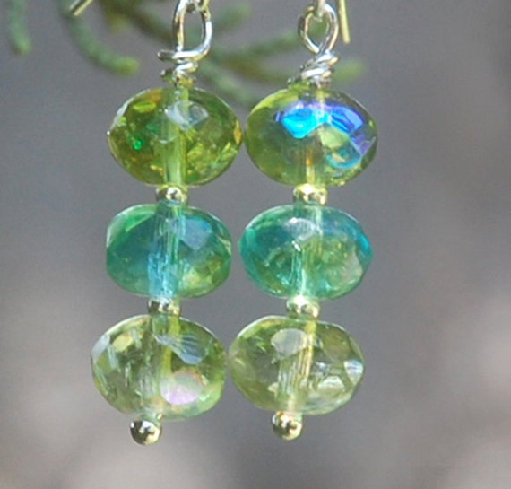 Honey Dew Earrings -Green Glass, aqua, summer shades