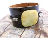 Leather Cuff, Black Patent Leather, Yellow Jade Stone Bead, Statement Jewelry