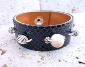 Beaded Navy Blue Snakeskin Bracelet, Women's Leather Accessories, Handmade Leather Jewelry