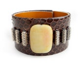 Brown Snakeskin Cuff with Yellow Jade Bead, Leather Jewelry