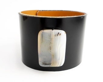 Black Patent Leather Cuff with Single White Carnelian Bead, Handmade Leather Jewelry, Leather Accessories for Women