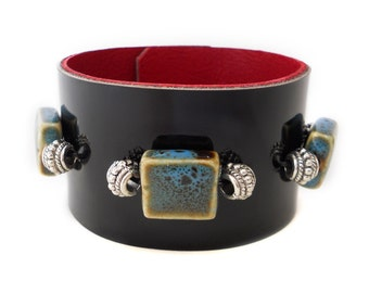 Black Patent Leather Cuff Bracelet with Blue Beads and Red Leather Lining, Beaded Leather Jewelry, Leather Accessories for Women