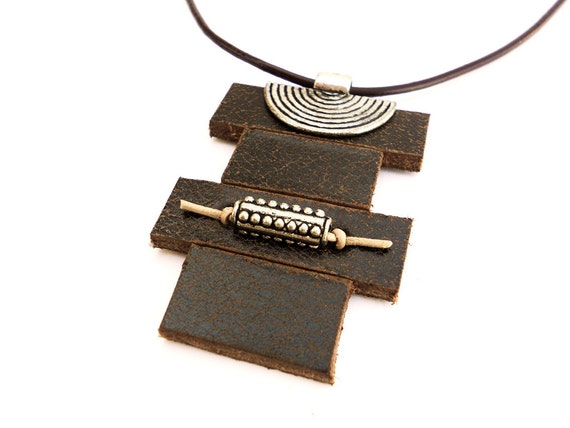 Hand Carved Zen Style Leather Necklace, Women's Leather Accessories, Handmade Leather Jewelry
