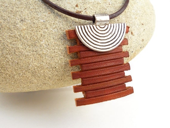Zen Leather Necklace, Brown Leather Pendant, Hand Carved