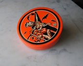 RARE Kirchhof Orange Vintage Tin Halloween Witch With Owl and Jack-O-Lantern Noisemaker
