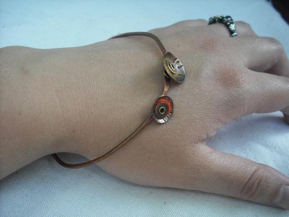 Copper and Wool Bracelet, Cosmic Poppy Stackable Bangle Bracelet