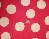 White jumbo dots on hot pink cotton jersey knit fabric 1 YD