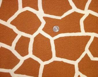 NEW brown and white giraffe print  on cotton jersey knit fabric 1 YD