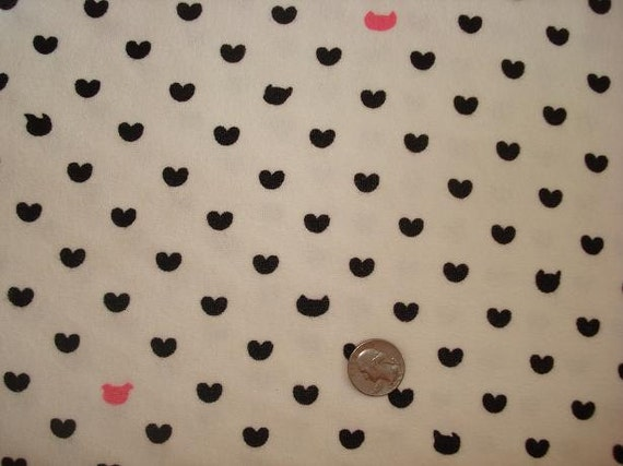 Hearts and Cats on Stretch Terry Knit Fabric 1 YD