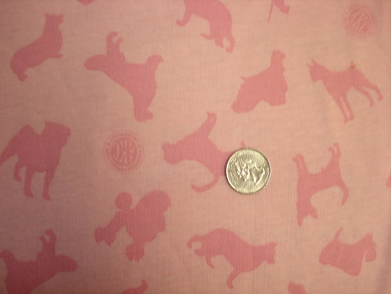 PINK dogs on pink cotton jersey knit fabric 1 YD