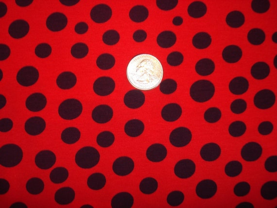 Navy polka dots on red  cotton lycra knit fabric 1 YD