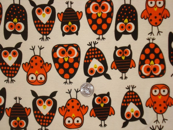 The cutest Halloween Owls on white Cotton Ribbed Knit Fabric 1 Yard