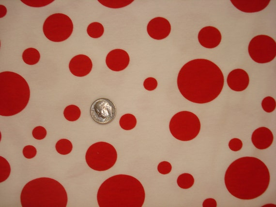 Red polka dots on white cotton lycra knit fabric 1 YD