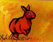 Scary Bunny ACEO Original Painting LLMartin