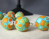 Retro Orange, Aqua and Green Polymer Clay Bead and Sterling Silver Bracelet