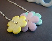Yellow, Pink, and Pale Blue Artisan Lampwork Flowers and Sterling Necklace