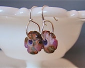 Artisan Lampwork Glass Lavender and Brown Patty Pan Flower Earrings Gift Under 25