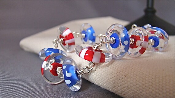 SALE Red, White and Blue Americana  (Artisan Lampwork, Sterling Silver), the Bracelet