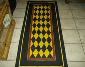FLOORCLOTH  COUNTRY RUNNER  hand painted rug  2.5'x6'