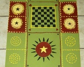 "Country Folk FLOORCLOTH / Hand Painted Runner / Primitive Rug / Olive Green, Dark Red, Yellow, Black / 26"" x 72"""