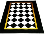 FLOORCLOTH Black and White Diamond Pattern, hand painted rug  COUNTRY PRIMITIVE  Folkart