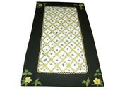 Hand Painted BUMBLE BEES FLOORCLOTH / Yellow Flowers / Black / Yellow / Lattice Pattern / 4 X 7