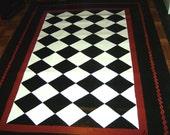 Items Similar To Floorcloth Black And White Diamond
