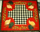 ROOSTER  Floorcloth /  hand painted rug /  French Country Primitive
