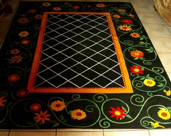 "FLOORCLOTH  COUNTRY Primitive Decor  4'6""x7'"