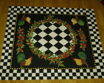 Floorcloth  FRENCH COUNTRY ROOSTER  hand painted rug