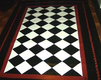 black and white diamond rug. floorcloth black and white diamond pattern, hand painted rug country primitive folkart o