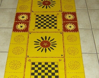 FLOORCLOTH  COUNTRY PRIMITIVE  hand painted rug