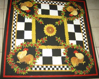 French Country ROOSTER FLOORCLOTH / Hand Painted Canvas Rug / Primitive / Sunflowers / Black and White Checked / Red Floral / 4 x 4