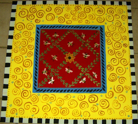 FLOORCLOTH /  hand painted rug /   honey Bees /  WHIMSICAL / 5'x5'