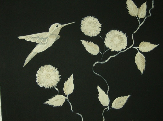 Floorcloth  Hand Painted Canvas Rug  HUMMINGBIRD  humming bird