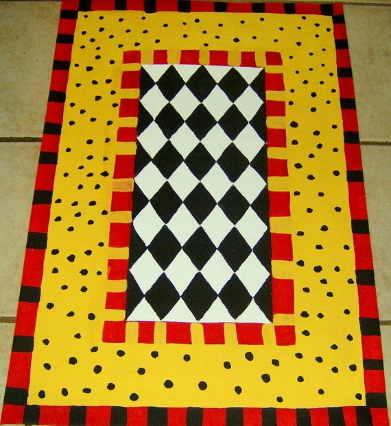 Washable Primitive Rugs: FLOORCLOTH French Country Primitive Hand Crafted Rug