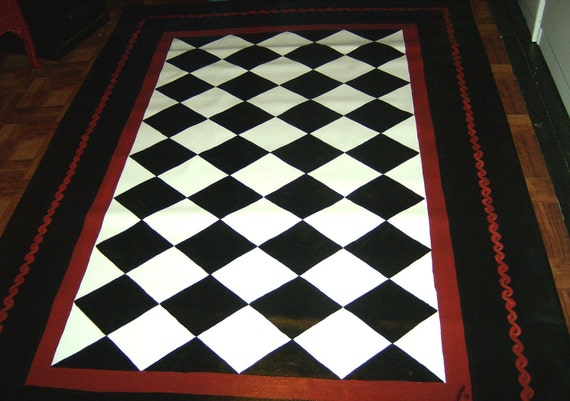 Floorcloth Black And White Diamond Pattern Hand Painted Rug