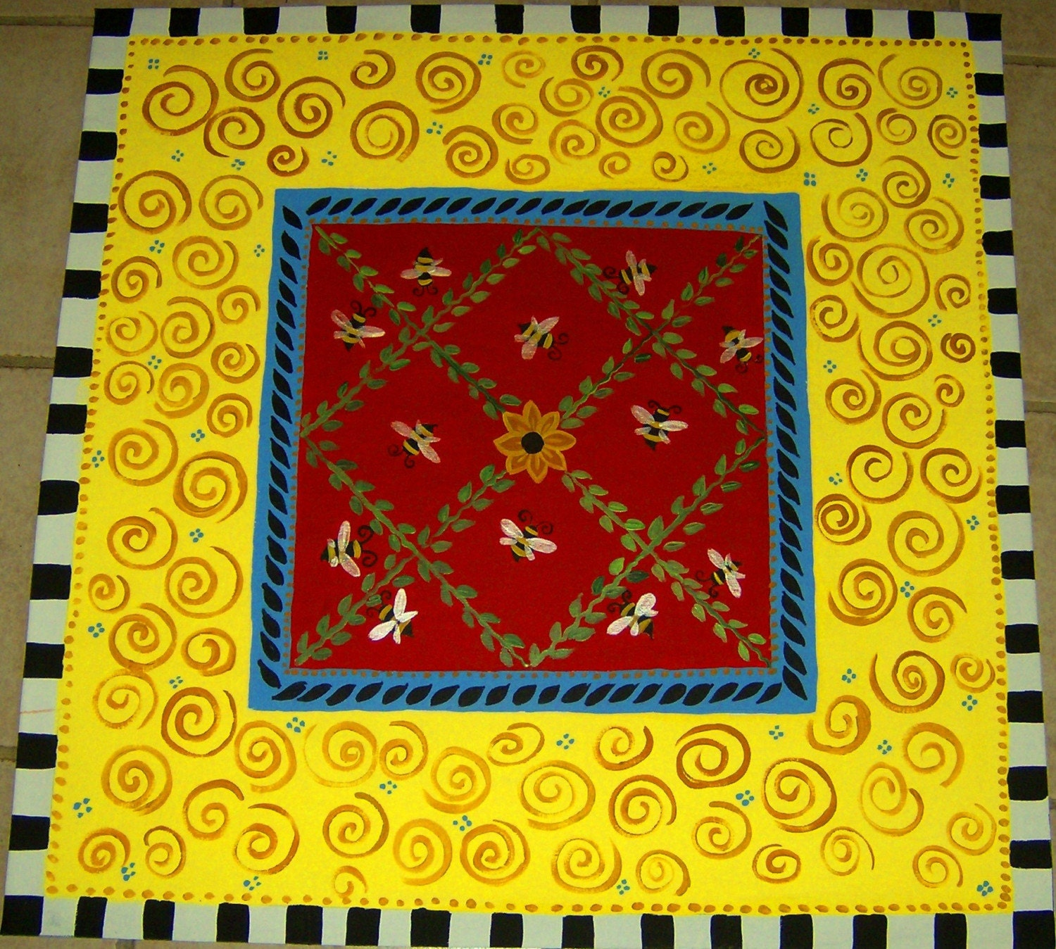Painted Kitchen Floor Cloth: FLOORCLOTH / Hand Painted Rug / Honey Bees / WHIMSICAL