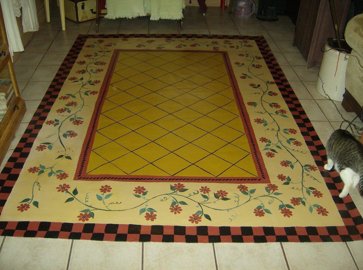 Floorcloth French Country Primitive Decor Hand Painted