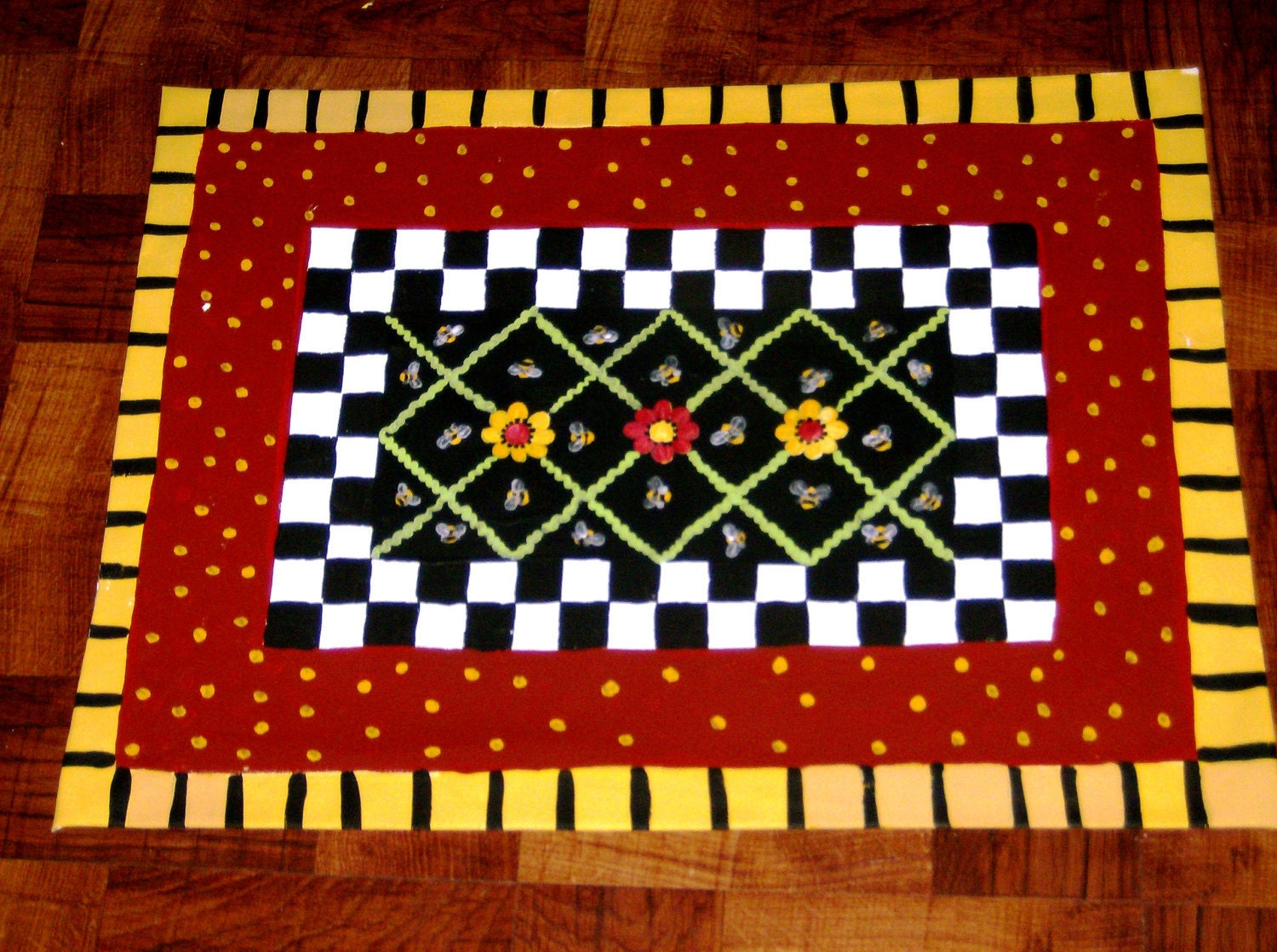Floorcloth Hand Painted Rug Cottage Decor Shabby Bees