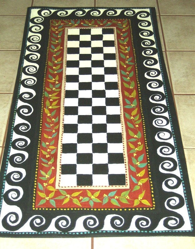 Floorcloth French Country Hand Painted Rug Primitive