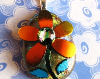 Orange Dichroic Flower Pendant