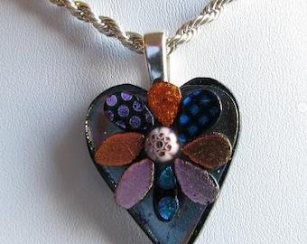 Dichroic Heart Pendant, Artist signed
