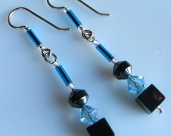 Blue sterling silver earrings, price reduced