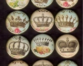 12 Vintage Style Crowns Flat back, pin back or hollow buttons