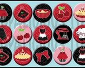 15 Cherries and Pie Flatback buttons