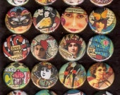 20 NEW Altered Art Images flat back buttons or pinback 1 inch buttons cabochons Part Two