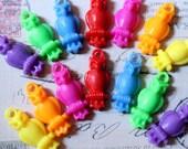 Owl Plastic Charms Rainbow Colors Set of 14 Acrylic Owl Charms