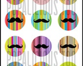 Funky I Love Mustache flat back buttons, pin back buttons or hollow set of 12